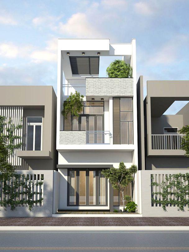 Thiết kế nhà phố 2 tầng 1 tum đẹp hiện đại nhất