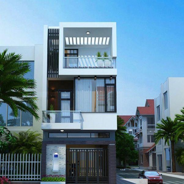 Thiết kế nhà phố 2 tầng có 2 mặt tiền đẹp