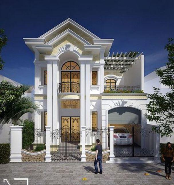 Thiết kế nhà phố 2 tầng kiểu pháp đẹp