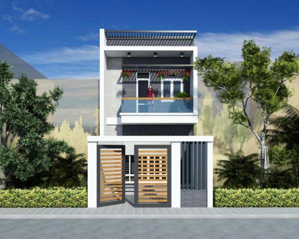 Thiết kế nhà phố 2 tầng sở hữu mặt tiền 5m đẹp