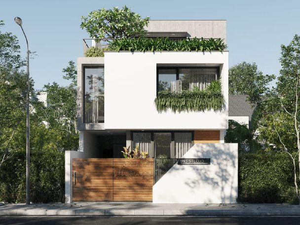Thiết kế nhà phố 2 tầng sở hữu mặt tiền 6m đẹp