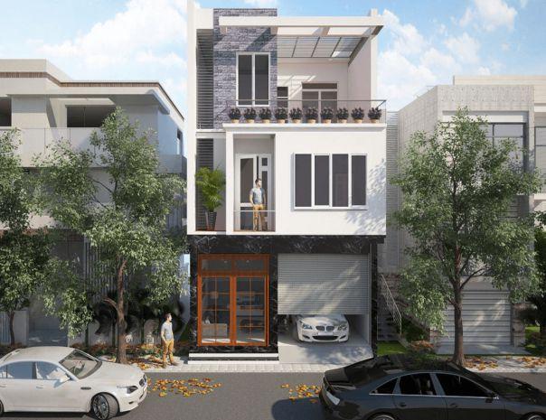 Ngắm nhìn mẫu nhà phố 3 tầng có gara hiện đại