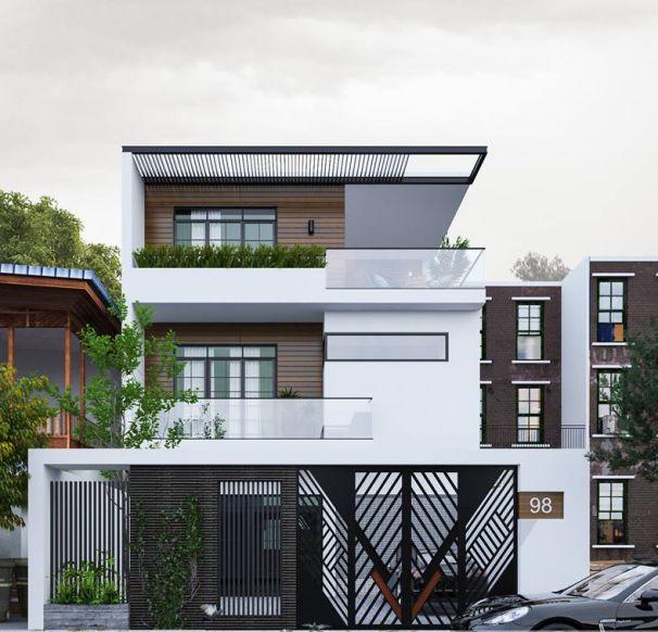 Cuốn hút với thiết kế nhà phố 3 tầng mái bằng đẹp