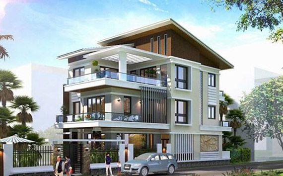 Bắt mắt với thiết kế nhà phố 3 tầng mái lệch đẹp
