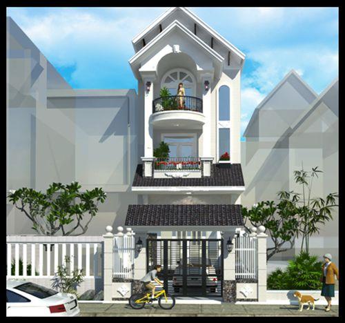 Thiết kế nhà phố 3 tầng mái thái cực đẹp mắt