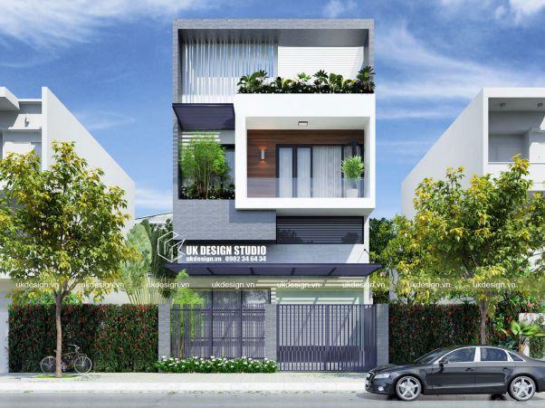 Thiết kế nhà phố 3 tầng mặt tiền 8m đẹp nhất