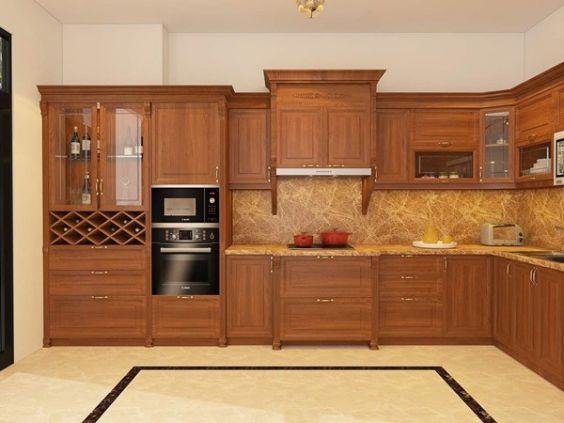 Mẫu tủ bếp gỗ gõ đỏ đẹp nhất hiện nay - hình 1