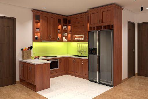 Mẫu tủ bếp gỗ gõ đỏ đẹp nhất hiện nay - hình 3