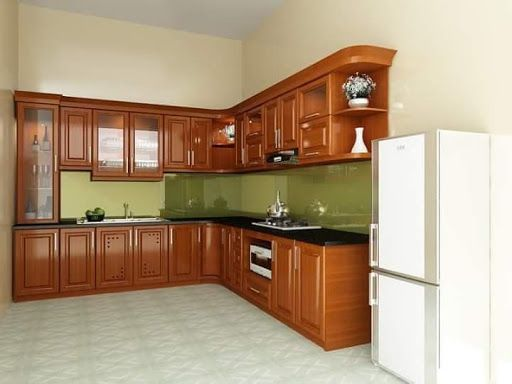Mẫu tủ bếp gỗ gõ đỏ đẹp nhất hiện nay - hình 4