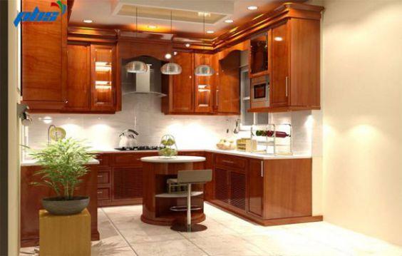 Mẫu tủ bếp gỗ gõ đỏ đẹp nhất hiện nay - hình 5