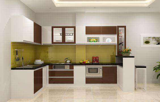 Mẫu tủ bếp acrylic hình chữ L đẹp