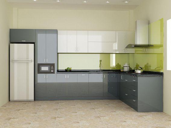 Mẫu tủ bếp acrylic màu xám đẹp