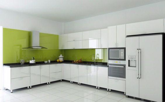 Mẫu tủ bếp gỗ công nghiệp acrylic màu trắng