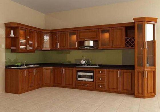 Các mẫu tủ bếp gỗ xoan đào đẹp nhất - Hình 2