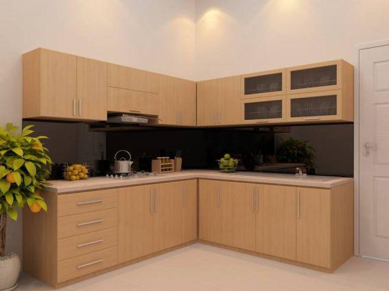 Mẫu tủ bếp inox cánh bằng gỗ đẹp