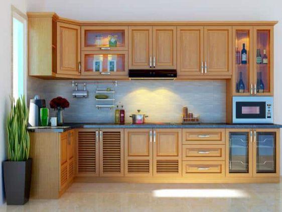 Mẫu tủ bếp nhôm hình chữ L đẹp