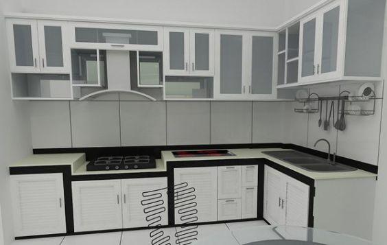 Mẫu tủ bếp nhôm màu trắng đẹp