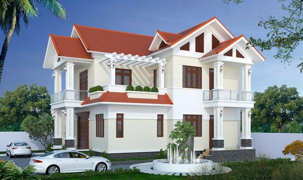 Thiết kế nhà 2 tầng 4 phòng ngủ ở nông thôn