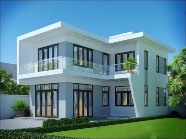 Sưu tầm mẫu nhà 2 tầng hình chữ l mái bằng hiện đại - Hình 1