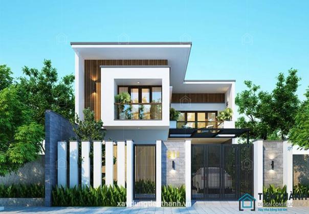 Sưu tầm mẫu nhà 2 tầng hình chữ l mái bằng hiện đại - Hình 2