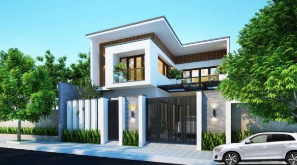Sưu tầm mẫu nhà 2 tầng hình chữ l mái bằng hiện đại - Hình 3