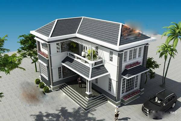 Tổng hợp mẫu nhà 2 tầng hình chữ l mái nhật đẹp - Hình 1
