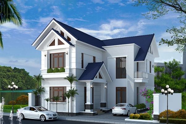 Mẫu nhà 2 tầng hình chữ l mái thái đẹp - Hình ảnh 1