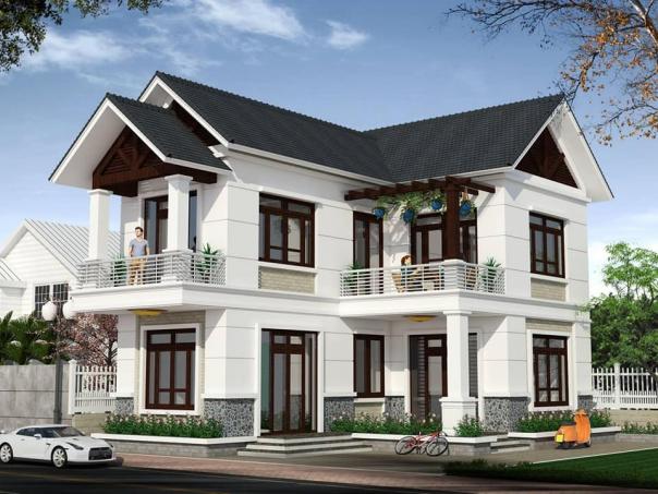 Mẫu nhà 2 tầng hình chữ l mái thái đẹp - Hình ảnh 3
