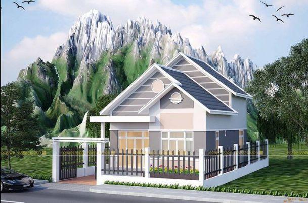 Thiết kế nhà cấp 4 2 phòng ngủ 5x15