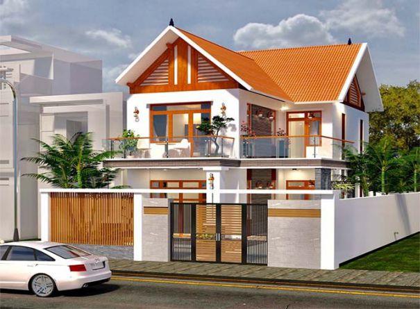 Thiết kế nhà mái ngói 2 tầng mặt tiền 7m