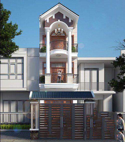 Thiết kế nhà mái ngói 3 tầng diện tích 180m2
