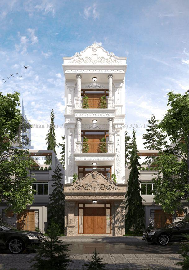 Mẫu nhà phố 4 tầng mái ngói cổ điển