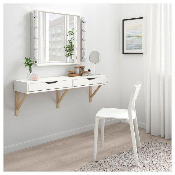 Mẫu bàn trang điểm mini treo tường đẹp nhất hiện nay