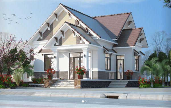 Mẫu biệt thự mini 1 tầng kiểu dáng kiến trúc mới - Hình 2