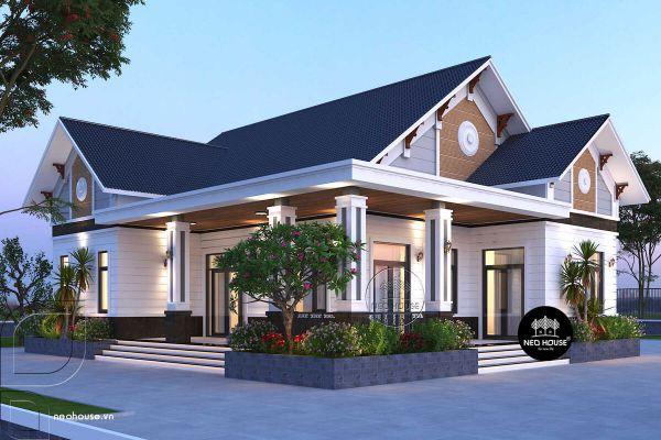 Mẫu biệt thự mini 1 tầng kiểu dáng kiến trúc mới - Hình 3