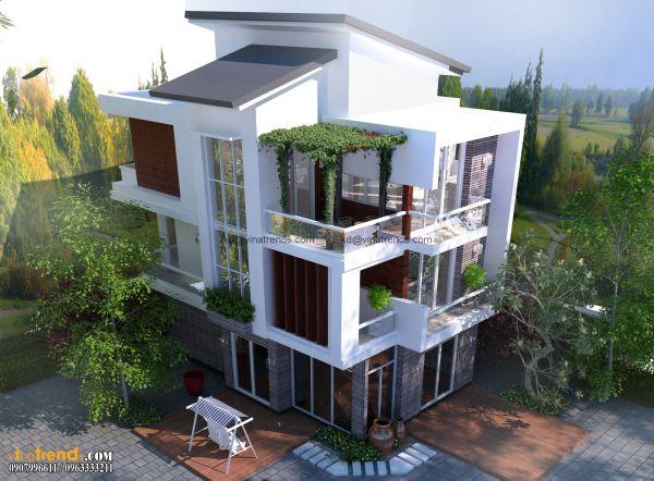 Giới thiệu thiết kế biệt thự mini sân vườn 3 tầng