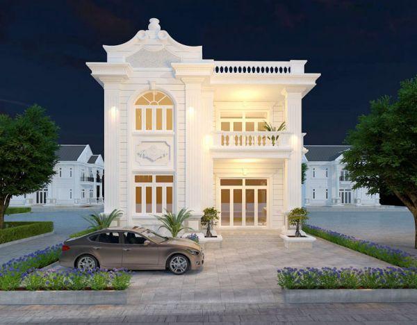 Mô hình thiết kế biệt thự mini tân cổ điển 2 tầng
