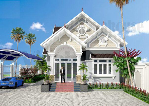 Thiết kế biệt thự mái thái 1 tầng