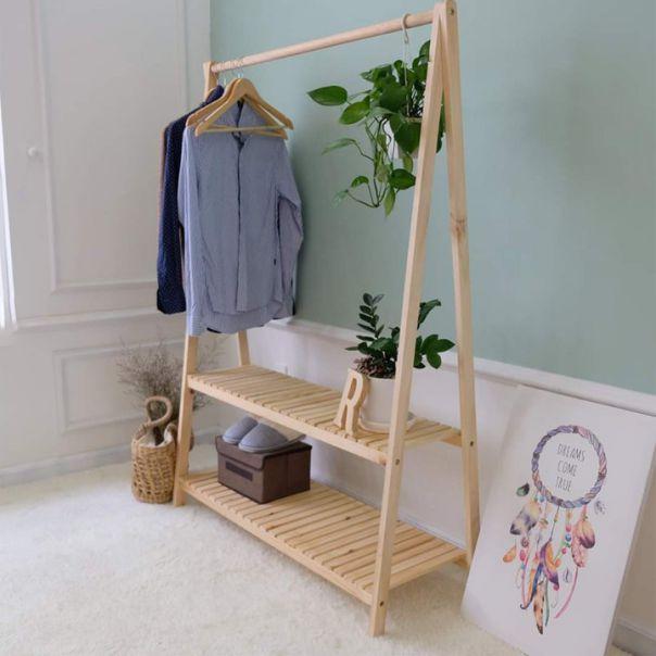 Mẫu giá treo quần áo gỗ thông đẹp