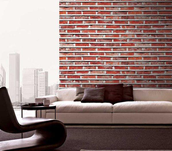 Mẫu giấy dán tường giả gạch đẹp cho phòng khách
