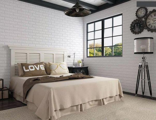 Mẫu giấy dán tường giả gạch đẹp cho phòng ngủ