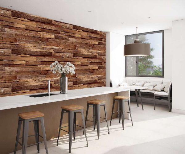 Mẫu giấy dán tường giả gỗ đẹp nhà bếp và phòng ăn