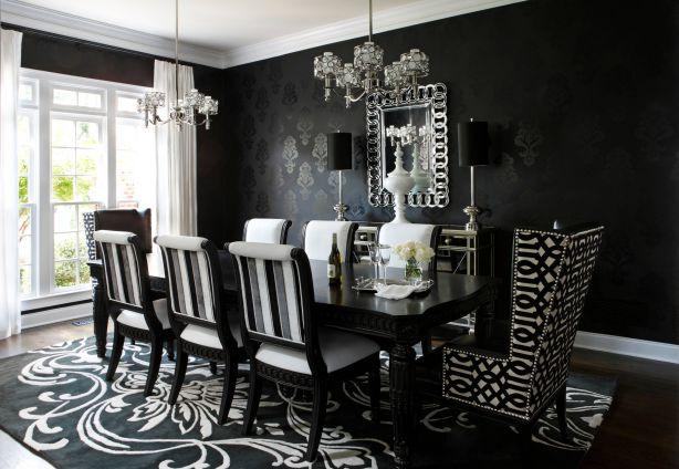 Mẫu giấy dán tường màu đen cho phòng ăn
