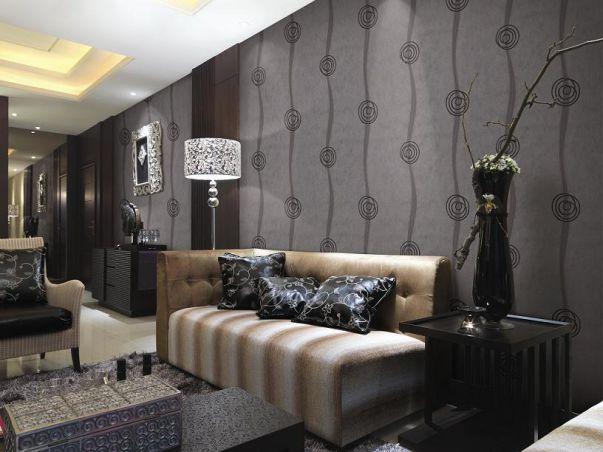 Mẫu giấy dán tường màu đen cho phòng khách