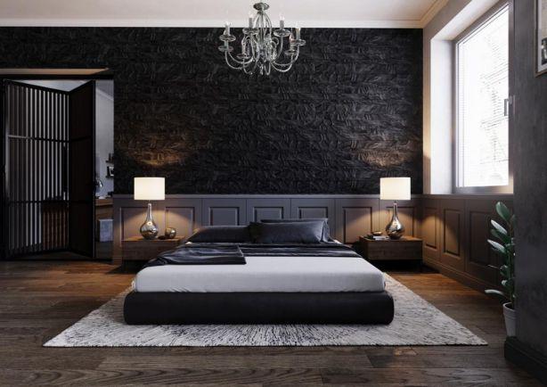 Mẫu giấy dán tường màu đen cho phòng ngủ