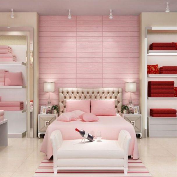 15 mẫu giấy dán tường màu hồng đẹp phòng ngủ