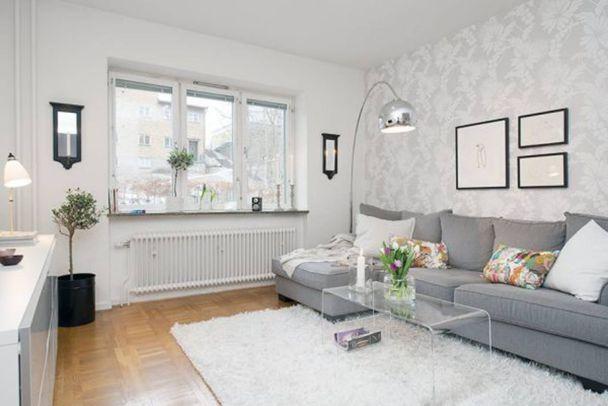 Những mẫu giấy dán tường màu trắng đẹp phòng khách