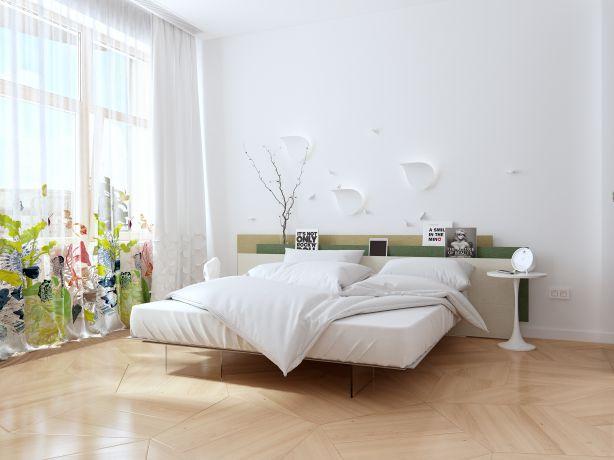 Những mẫu giấy dán tường màu trắng đẹp phòng ngủ