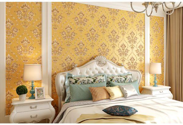 BST giấy dán tường màu vàng đẹp cho phòng ngủ