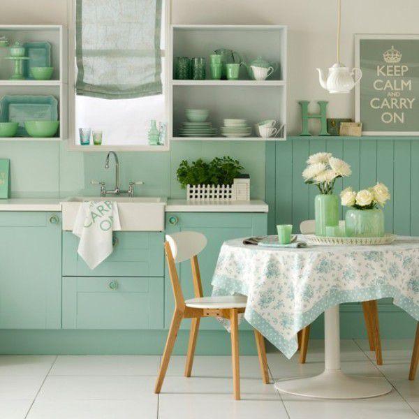 Các kiểu giấy dán tường màu xanh đẹp phòng ăn